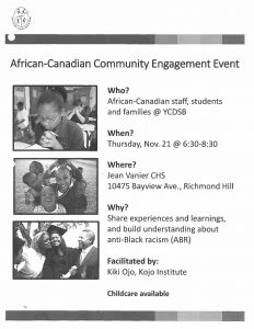 African-Canadian Community Engagement Event Nov. 21
